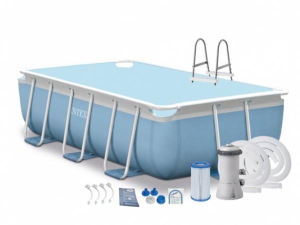 28314 Каркасный бассейн Intex Prism Frame Rectangular Pool, 300х175х80 см + фильтр-насос + лестница