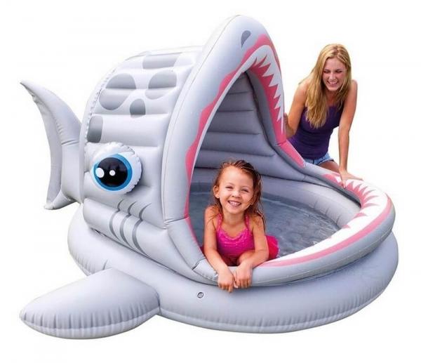 """57120 Детский надувной бассейн 201x198x109см """"Акула"""" с навесом, 121л, от 2 лет"""