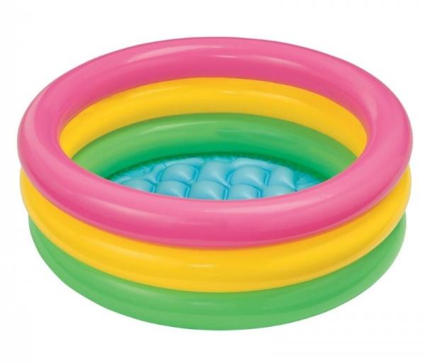 """58924 Детский надувной бассейн 86х25см """"Радуга"""" от 1 до 3 лет, надувное дно"""