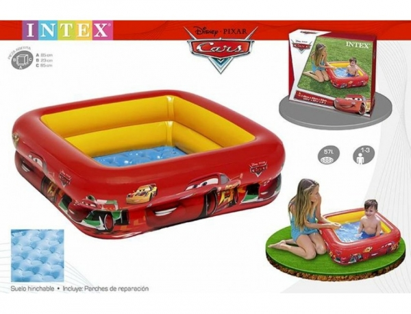 "57101 Детский надувной бассейн 85х85х23см ""Тачки"""