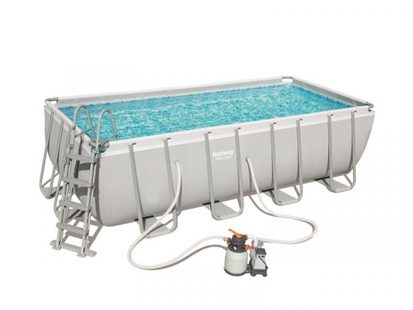 56671 Каркасный бассейн Power Steel 488х244х122см, 11532л, песочн.фил.-насос, лестн., тент, подстилка