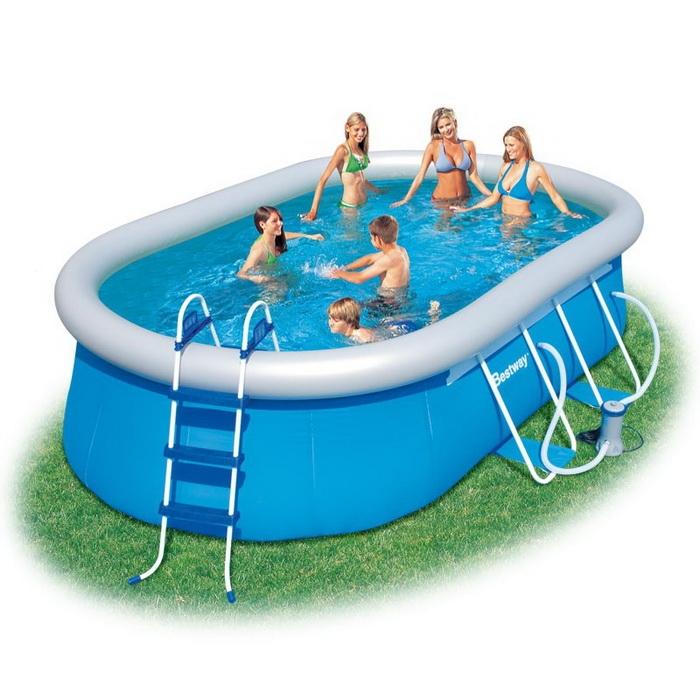 56269 Бассейн надувной Oval Fast Set Pool Set 488x305х107 см + фильтр-насос Bestway