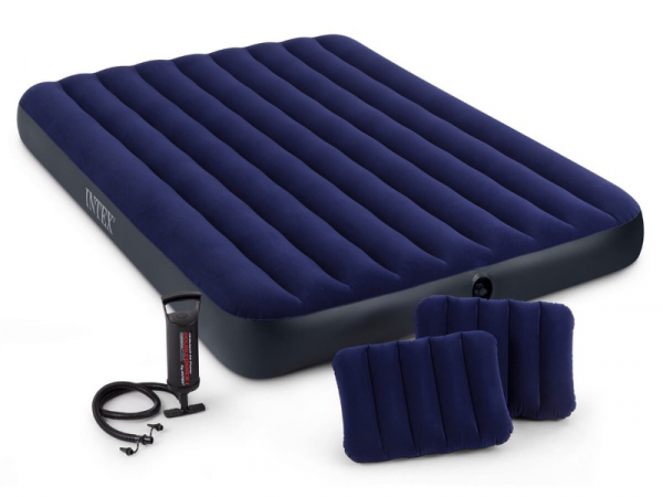 64765/68765 Матрас комфорт синий 152х203х25см, насос и подушки