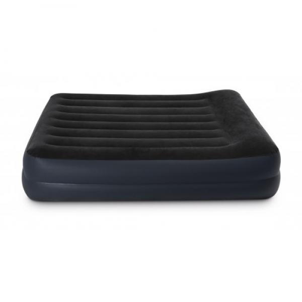 64124 Двуспальная надувная кровать Pillow Rest bed Fiber-Tech с насосом 220В, INTEX