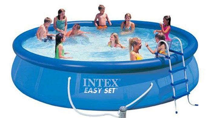 28166 Бассейн Easy Set 457x107 см с фильтр-насосом, лестницей настилом и тентом