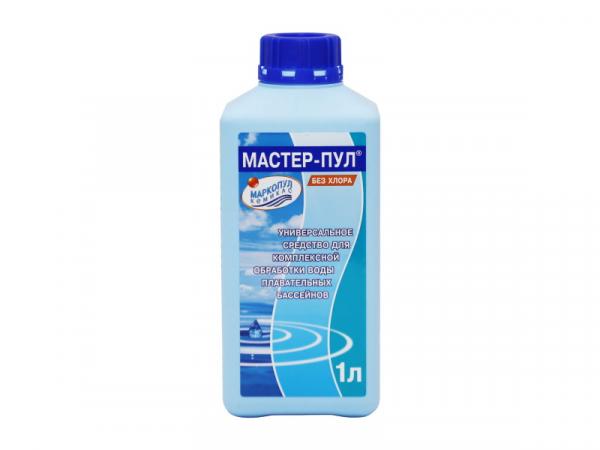 МАСТЕР-ПУЛ, 1л бутылка, жидкое безхлорное средство 4 в 1 для обеззараживания и очистки воды