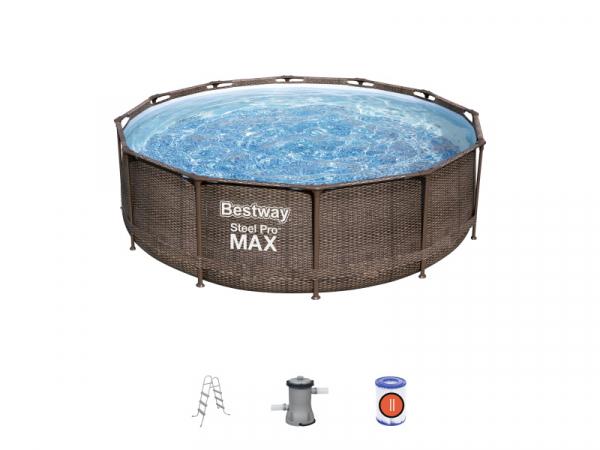 "56709 Каркасный бассейн Steel Pro Max 366х100см ""Ротанг"" + 2 аксессуаров"