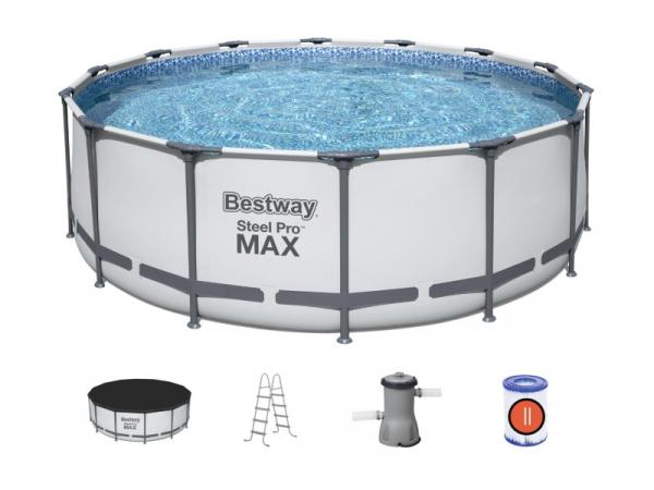 5612X BW, Каркасный бассейн Steel Pro Max 427х122см, 15232л, фил.-насос 3028л/ч, лестница, тент