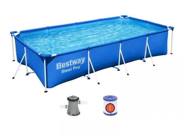 56424/56082 BW Каркасный прямоугольный бассейн 400х211х81 см, 5700 л, фильтр-насос