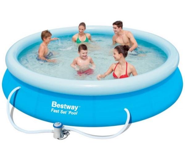 57274/57112 Бассейн надувной Fast Set Pool Set 366х76 см, фильтр-насос Bestway