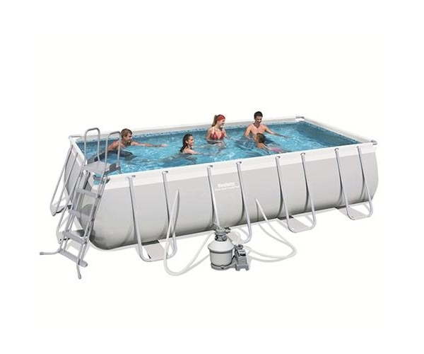 56390 Каркасный бассейн BestWay Rectangular Frame Pools, 488х274х122 см, + 4 аксессуара