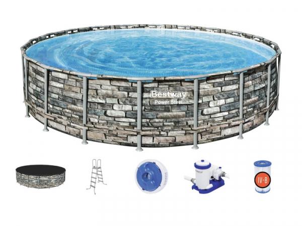 """56883 BW Каркасный бассейн Power Steel 610x132см """"Камень"""", фил.-нас. 9463л/ч, лестн., тент, попл.-доз"""