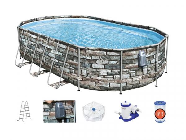 """56719 BW Каркасный бассейн Power Steel 610x366x122см """"Камень"""", фил.-нас. 9463л, лестн, гидромас, подсв"""