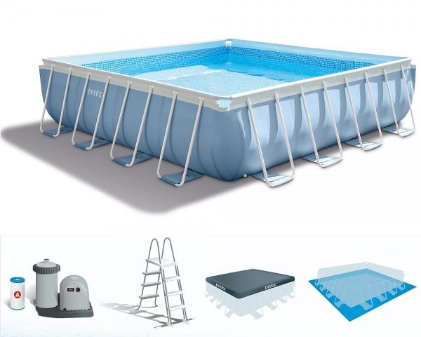28764 Каркасный бассейн Prism Frame 427х427х107см, фильтр-насос 3785л/ч, лестница, тент, подстилка