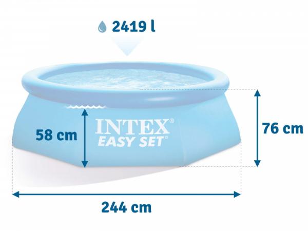 28112 Надувной бассейн INTEX Easy Set Pool, 244х76 см + фильтр-насос