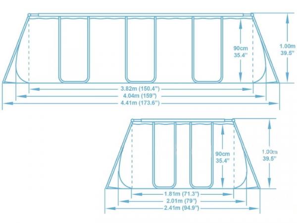 56721 Каркасный бассейн 404х201х100см, фильтр-насос, лестница, попл.-дозатор
