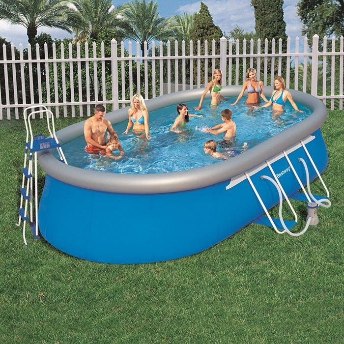 56153 Бассейн надувной Oval Fast Set Pool Set 549x366х122 см + фильтр-насос Bestway