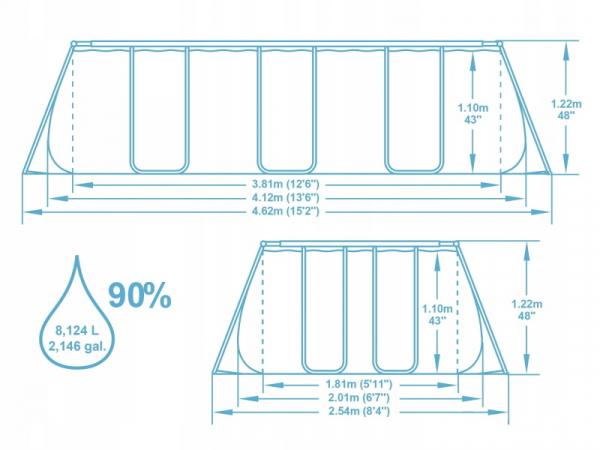 56722 Бассейн каркасный 412*201*122см, 8124 л, фильтр-насос, лестница, попл.-дозатор