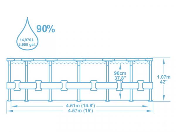 56488 Каркасный бассейн Bestway Steel Pro Max 457х107 см + фильтр-насос 3028 л/ч, тент, лестница