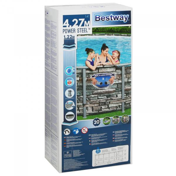 56993 Бассейн Power Steel, 427х122 см каркасный, фильтр-насос 3028 л/ч, тент, лестница, диспенсер