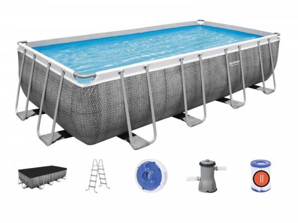 56996 Каркасный бассейн Power Steel  488х244х122см, фил.-насос 3028л/ч, лестница, тент, попл.-доз.