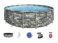 "56886 Каркасный бассейн Power Steel 549x132см ""Камень"", фил.-нас. 5678л/ч, лестн., тент, попл.-доз."